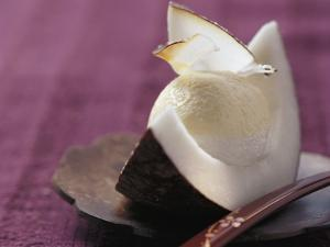 Passion Fruit and Coconut Cream in a Wedge of Coconut by Eising Studio - Food Photo and Video