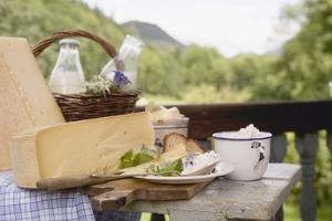 Rustic Still Life with Cheese, Quark, Milk and Bread by Eising Studio - Food Photo and Video
