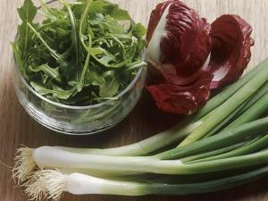 Spring Onions, Radicchio and a Bowl of Rocket by Eising Studio - Food Photo and Video