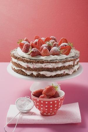 Strawberry Cream Cake on Cake Stand, Strawberries, Icing Sugar by Eising Studio Food Photo and Video