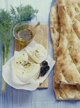 Turkish Flatbread with Sheep's Cheese and Olives by Eising Studio - Food Photo and Video