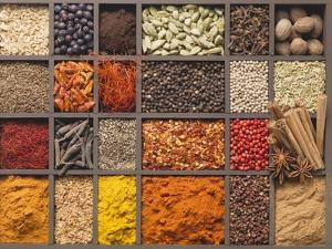 Various Spices in a Type Case by Eising Studio - Food Photo and Video