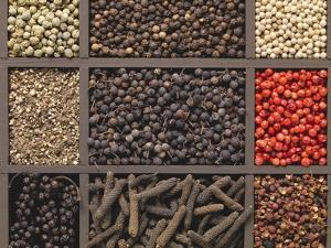 Various Types of Pepper in a Type Case by Eising Studio - Food Photo and Video