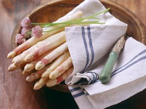 White Asparagus with Fresh Chives on Tea Towel by Eising Studio - Food Photo and Video
