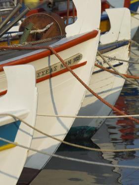 Close up of the Front of Three Fishing Boats in the Harbour, Sitia, Crete, Greek Islands, Greece by Eitan Simanor