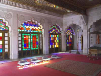 Colourful Stained Glass in the Maharaja's Throne Room, Meherangarh Fort Museum, Jodhpur, India by Eitan Simanor