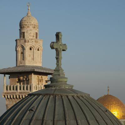 Ecce Homo Dome, Minaret and Dome of the Rock, Jerusalem, Israel, Middle East by Eitan Simanor
