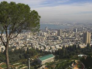 Elevated View of City and Bay from Mount Carmel, Haifa, Israel, Middle East by Eitan Simanor