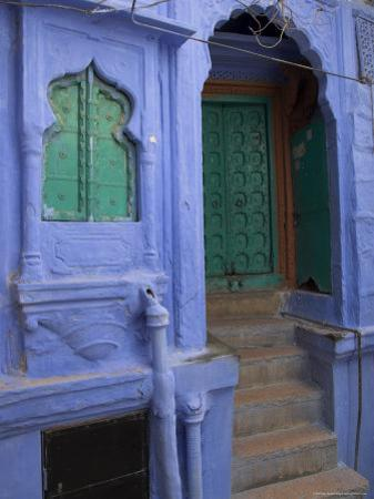 Entrance Porch and Window of Blue Painted Haveli, Old City, Jodhpur, Rajasthan State, India by Eitan Simanor