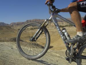 Front Wheel and Frame of Mountain Bicycle in the Mount Sodom International Mountain Bike Race by Eitan Simanor