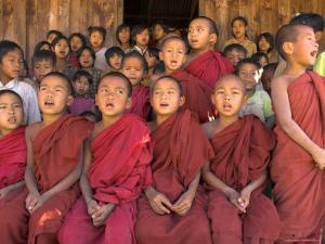 Group of School Children, Including Young Monks, Singing, Village of Thit La, Shan State, Myanmar by Eitan Simanor