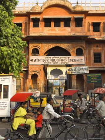 Ochre Facade of Old Building, Sireh Deori Bazaar, Old City, Jaipur, Rajasthan State, India by Eitan Simanor