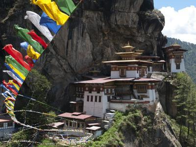 Taktshang Goemba (Tigers Nest Monastery) with Prayer Flags and Cliff, Paro Valley, Bhutan, Asia by Eitan Simanor
