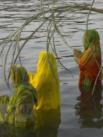Three Women Pilgrims in Saris Making Puja Celebration in the Pichola Lake at Sunset, Udaipur, India