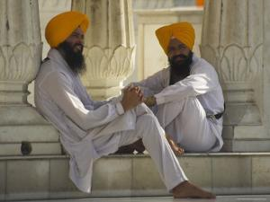 Two Sikhs Priests with Orange Turbans, Golden Temple, Punjab State by Eitan Simanor