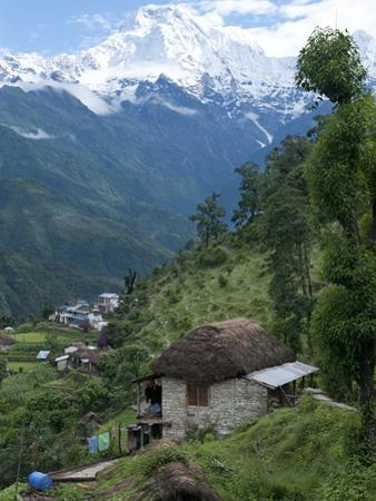 View of Southern Annapurna with Landruk Villge in Foreground, Pokhara, Annapurna Area, Nepal, Asia by Eitan Simanor