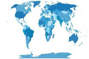High Detail World Map.All Elements are Separated in Editable Layers Clearly Labeled. Vector by ekler
