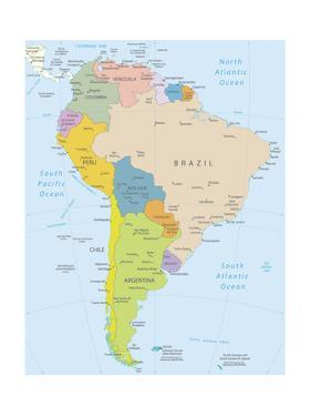 South America-Highly Detailed Map by ekler