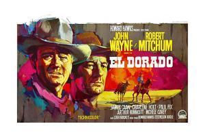 El Dorado, John Wayne, Robert Mitchum, Belgian Poster Art, 1967