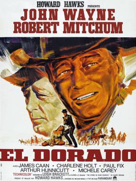 El Dorado, Robert Mitchum, John Wayne, French Poster Art, 1967