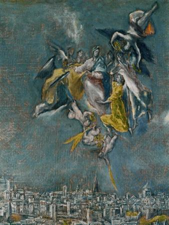 View and map of Toledo. Detail: Virgin and angels protecting Toledo by El Greco