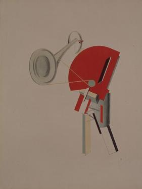 Reciter. Figurine for the Opera Victory over the Sun, 1920-1921 by El Lissitzky