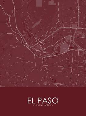 El Paso, United States of America Red Map