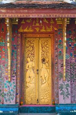 Elaborate Gilded Temple Door and Glass Mosaic on Exterior Wall