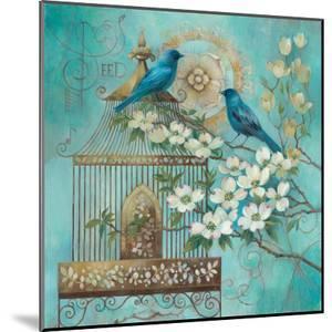 Blue Birds and Dogwood by Elaine Vollherbst-Lane