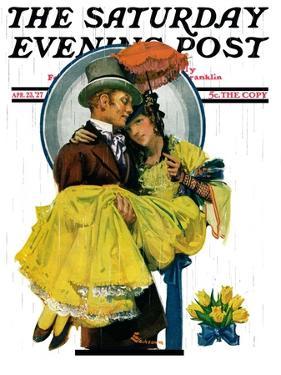 """April Shower,"" Saturday Evening Post Cover, April 23, 1927 by Elbert Mcgran Jackson"