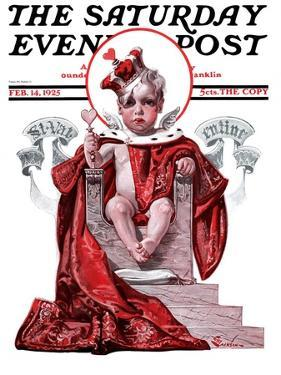"""""""Baby King Valentine,"""" Saturday Evening Post Cover, February 14, 1925 by Elbert Mcgran Jackson"""