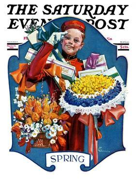 """Bellhop and Bouquets,"" Saturday Evening Post Cover, March 29, 1930 by Elbert Mcgran Jackson"