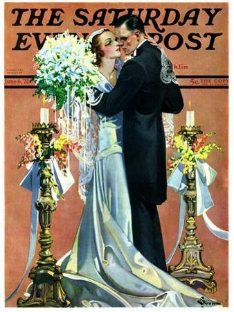 """Bridal Couple Dancing,"" Saturday Evening Post Cover, June 6, 1931"