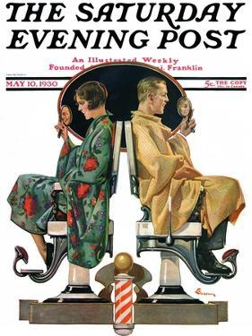"""""""Couple in Barber Chairs,"""" Saturday Evening Post Cover, May 10, 1930 by Elbert Mcgran Jackson"""