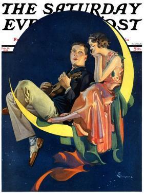 """Crescent Moon Couple,"" Saturday Evening Post Cover, June 14, 1930 by Elbert Mcgran Jackson"