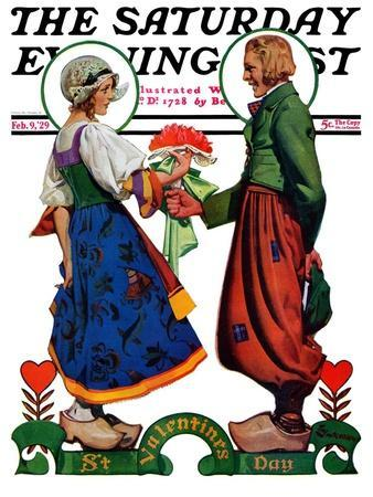 """Dutch Couple Valentine,"" Saturday Evening Post Cover, February 9, 1929"