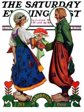 """Dutch Couple Valentine,"" Saturday Evening Post Cover, February 9, 1929 by Elbert Mcgran Jackson"