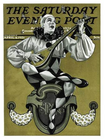 """Harlequin Mandolin Player,"" Saturday Evening Post Cover, April 4, 1931 by Elbert Mcgran Jackson"