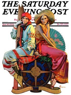 """""""Hot and Cold Vacations,"""" Saturday Evening Post Cover, January 10, 1931 by Elbert Mcgran Jackson"""