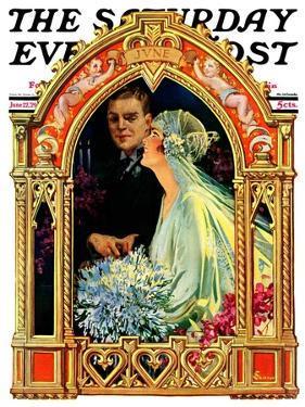 """June Bridal Couple,"" Saturday Evening Post Cover, June 22, 1929 by Elbert Mcgran Jackson"
