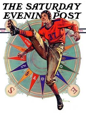 """Kickoff,"" Saturday Evening Post Cover, October 23, 1937 by Elbert Mcgran Jackson"