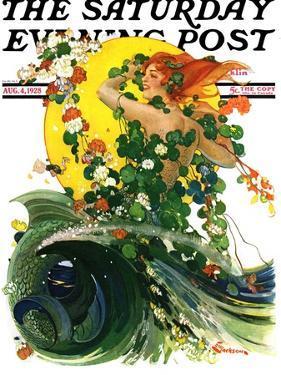 """Mermaid,"" Saturday Evening Post Cover, August 4, 1928 by Elbert Mcgran Jackson"