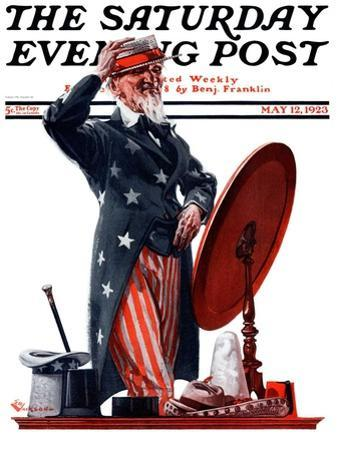 """""""New Hat for Uncle Sam,"""" Saturday Evening Post Cover, May 12, 1923"""