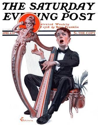 """Offkey Harpist,"" Saturday Evening Post Cover, April 4, 1925"