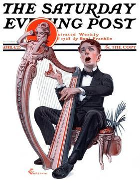 """Offkey Harpist,"" Saturday Evening Post Cover, April 4, 1925 by Elbert Mcgran Jackson"