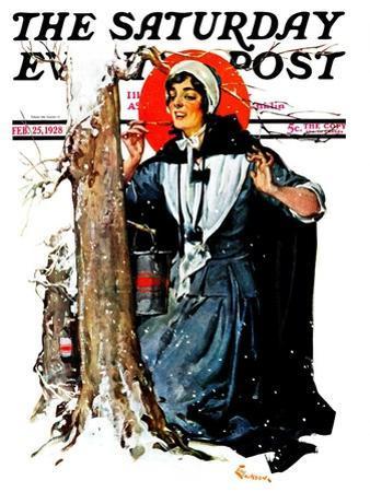"""Pilgrim Collecting Sap,"" Saturday Evening Post Cover, February 25, 1928"