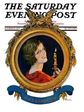 """Reflections of Halloween,"" Saturday Evening Post Cover, October 26, 1929 by Elbert Mcgran Jackson"