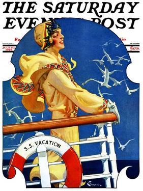 """""""S. S. Vacation,"""" Saturday Evening Post Cover, July 20, 1929 by Elbert Mcgran Jackson"""
