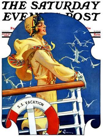 """""""S. S. Vacation,"""" Saturday Evening Post Cover, July 20, 1929"""