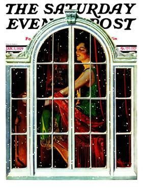 """Snowy Night,"" Saturday Evening Post Cover, January 5, 1929 by Elbert Mcgran Jackson"